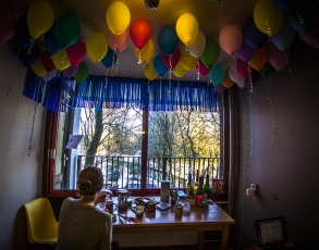 Balloons in student kitchen