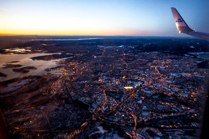Flying from Amsterdam - my vew as we arrive Norway, photo by ksenia n.