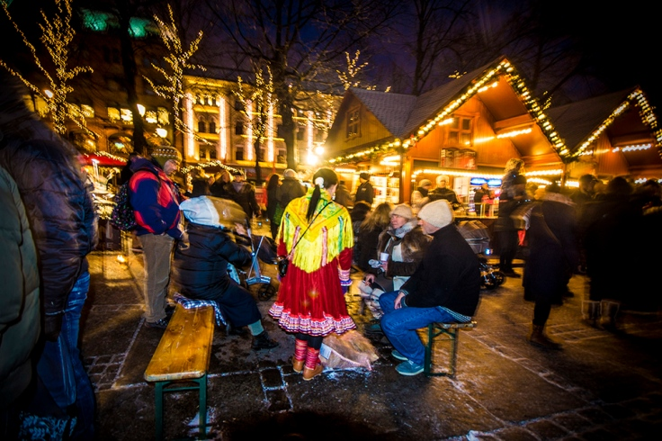 Christmas market, fire place, oslo, norway