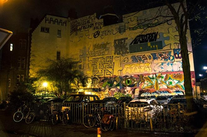 Night graffiti wall
