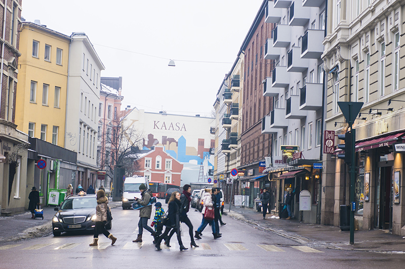 Forward: People crossing a street in Oslo