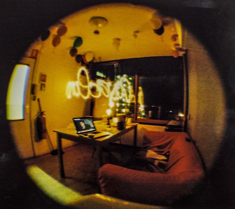 my kitchen shot with a baby fisheye on 110 film