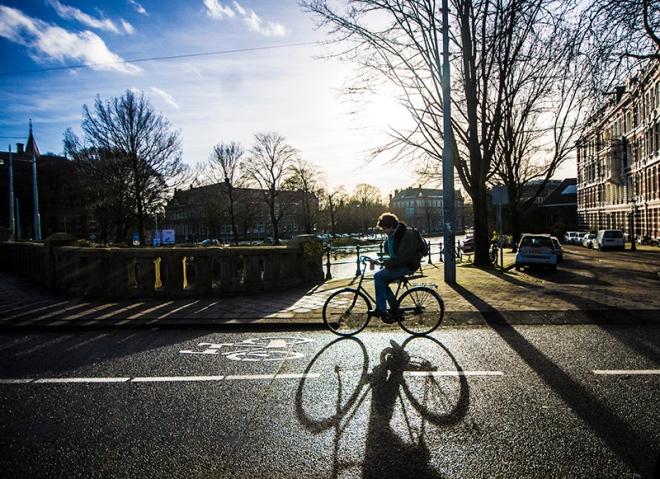 on a bike-road in amsterdam