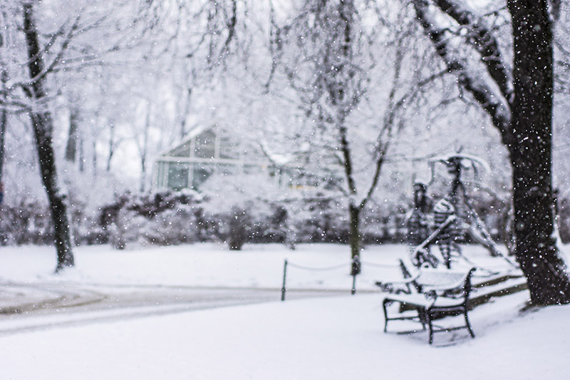 Empty bench in Oslo-snow