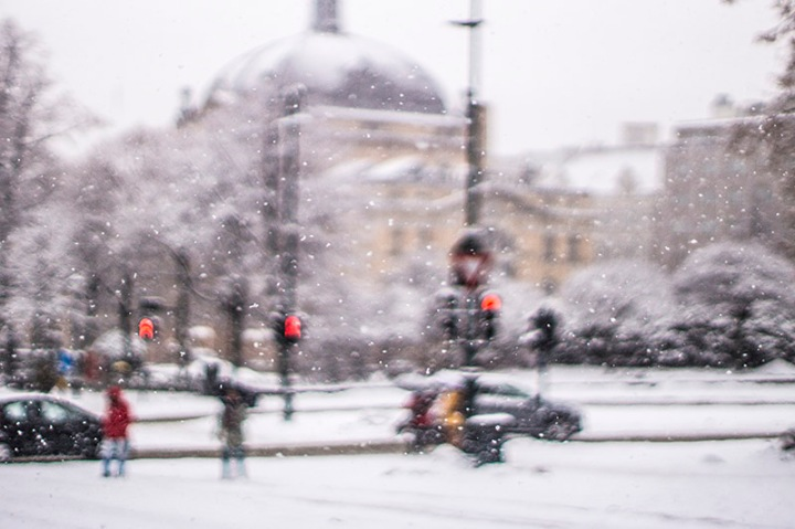 heavy snowfall in the centre of Oslo -