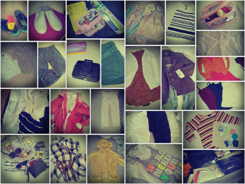 Packed bag - collage; dresses, t-shirts, pants, shoes ++