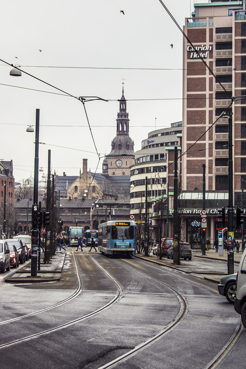 Oslo View- near central station - trams, traffic people