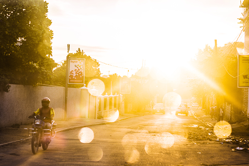 Motorbike on a road in the morning light
