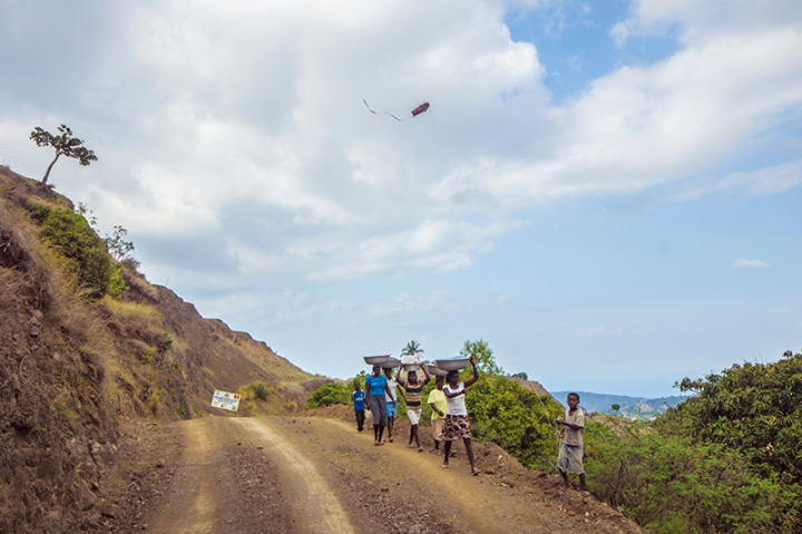 Kite flies in the mountain of Haiti