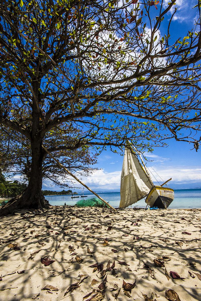 boat at a beach @ Ile A Vache, Haiti,