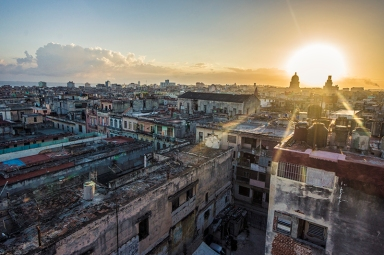 havana rooftops photographed from above in sunrise