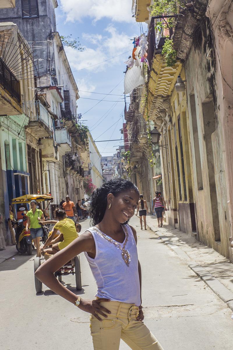 girl posing in a street in havana
