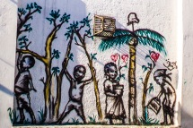 small children under palm trees graffiti