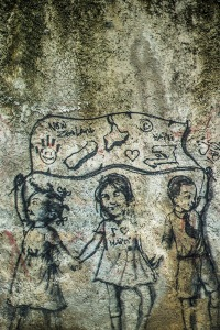 children - political graffiti, Haiti