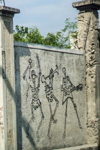 dancing skeletons graffiti