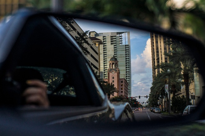 St. Pete Florida car mirror view