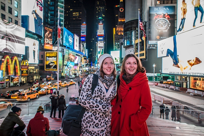 two girls in times square