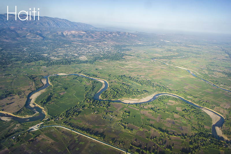 haiti helicopter view, river